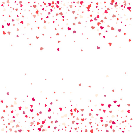 Heart confetti of Valentines petals falling on white background. Flower petal in shape of heart confetti. Valentines card