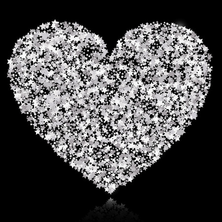 Abstract vector background with silver stars and a shape of a heart. Silver sparkles isolated on black background. Design for wedding card, valentine card. Illustration