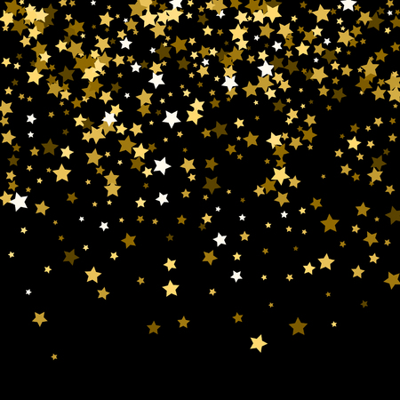 Abstract pattern of random falling gold stars on black background. Glitter pattern for banner, greeting card, Christmas and New Year card, invitation, postcard, paper packaging.