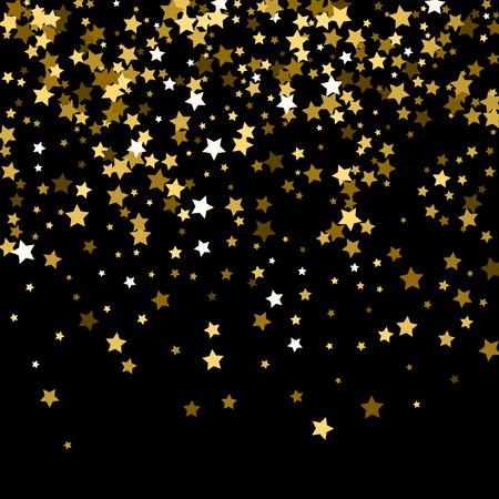 Modèle abstrait d'étoiles d'or tombant au hasard sur fond noir. Motif de paillettes pour bannière, carte de voeux, carte de Noël et du nouvel an, invitation, carte postale, emballages en papier. Vecteurs