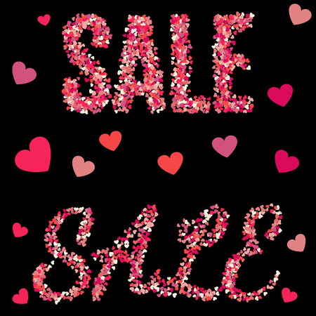 Red sale sign consisting of red hearts on black background. Vector holiday illustration. Çizim