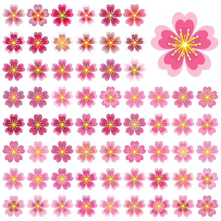 Sakura icon vector art set on white background illustration.