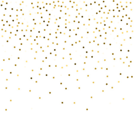 Rich gold stars confetti. Festive vector New Year Christmas background. Glitter sparkles gold stars confetti, shining magic decoration. Celebration border, firework, party ad banner.