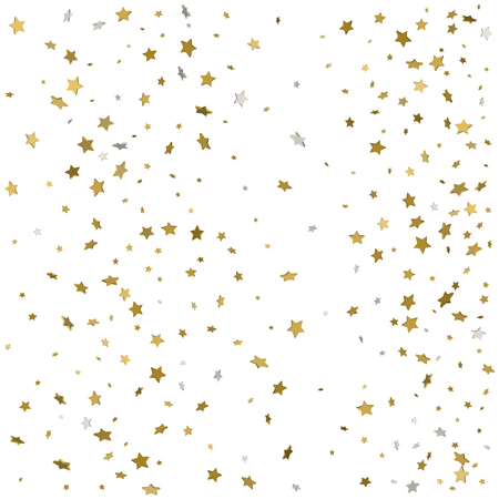Gold glitter confetti stars background. Scatter on bottom made of gold glittering confetti stars. Scatter bottom frame on white background. Ilustração