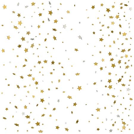 Gold glitter confetti stars background. Scatter on bottom made of gold glittering confetti stars. Scatter bottom frame on white background. Illustration