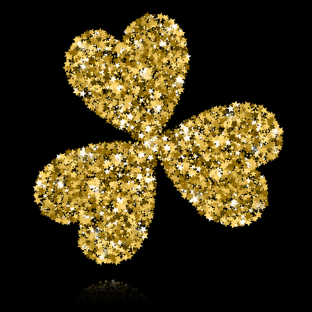Gold clover on black background. Star confetti illustration.