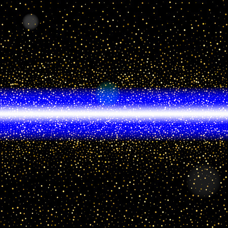 Abstract blue laser beam. Isolated on black background illustration.