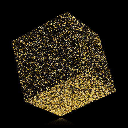Cube icon with perspective, 3d gold confetti concept of a cube. Illustration