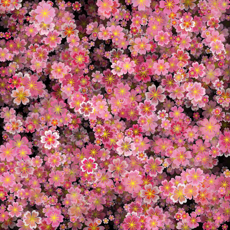 Floral Pattern in vector. Sakura background with 3d effect