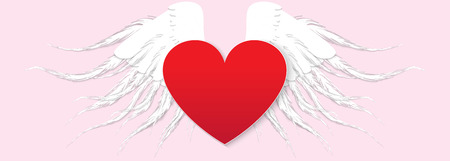 Red heart with angel wings white. Paper Style Vector Illustration Illustration