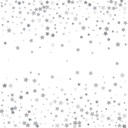 étoiles de paillettes argent tombant du ciel sur fond blanc. résumé modèle . résumé de la conception . illustration de fond de la carte Vecteurs