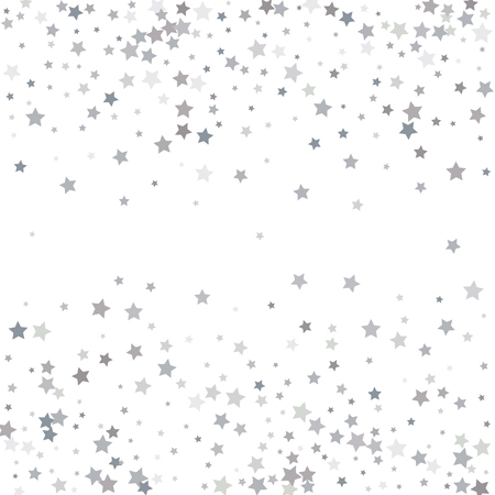 Silver glitter stars falling from the sky on white background. Abstract Background. Glitter pattern for banner. Vector illustration.