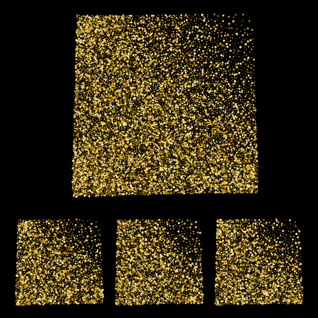 Set of gold confetti sheets of note papers. Four sticky notes.