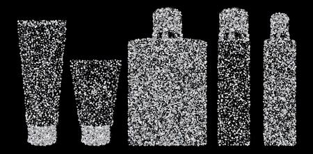 Silver confetti tubes. Isolated on black background. Illustration