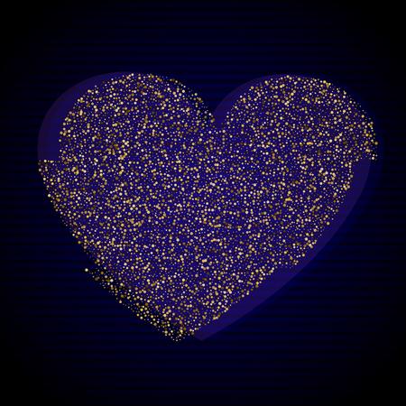 Distorted Glitch Style Modern Background. Glitched Gold Confetti Heart Frame Design. Glow Design for Graphic Design Brochure, Poster, Flyer, Card, Banner. Vector Illustration. Illustration