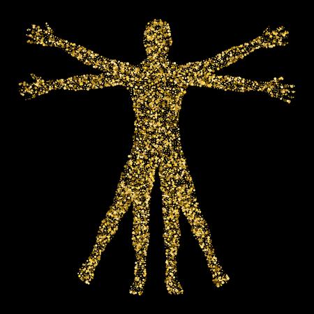 Vitruvian Man. The concept of gold confetti based on sketches by Leonardo da Vinci. Vector illustration.