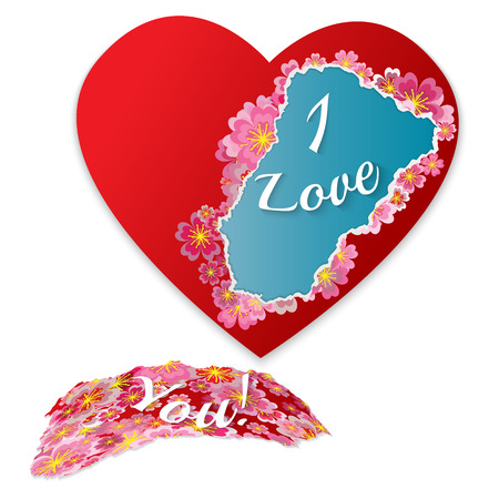 Torn paper heart with flowers and phrase - I love you. Fashionable modern frame for your text.