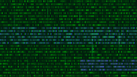 Binary code, green digits on the computer screen. Figures with the effect of the VHS screen of the 80s and 90s. Retro vintage screen. Colored semi-shifted numbers. Glitch effect. Format 16:9 Illustration