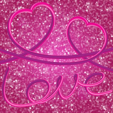 Glitter vintage lights with hearts and Elegant inscription Love Illustration