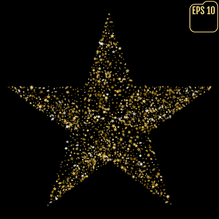 Glitter texture. Golden star. Vector illustration for cards, posters, banners, invitations. Isolated on black background. Illustration
