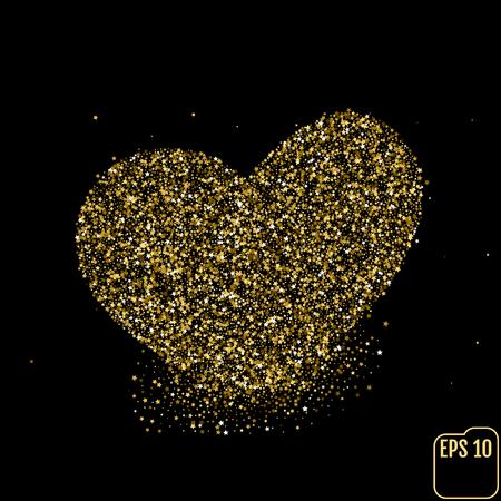 Heart of gold glittering stars dust trail