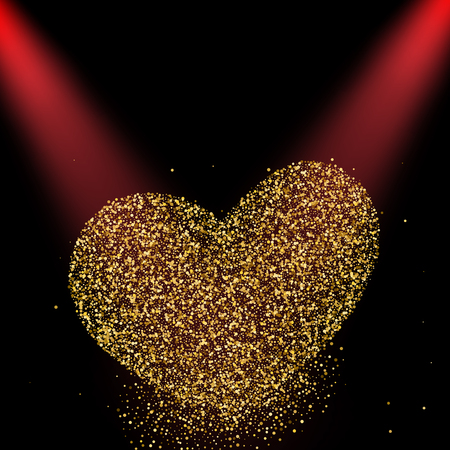 Heart made with golden stars. Two red lights. Vector illustration.