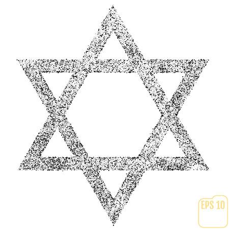 Star of David Icon Vector Illustration Symbol Israel Judaism Black Dots on White Background