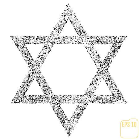 Star of David Icon Vector Illustration Symbol Israel Judaism Black Dots on White Background