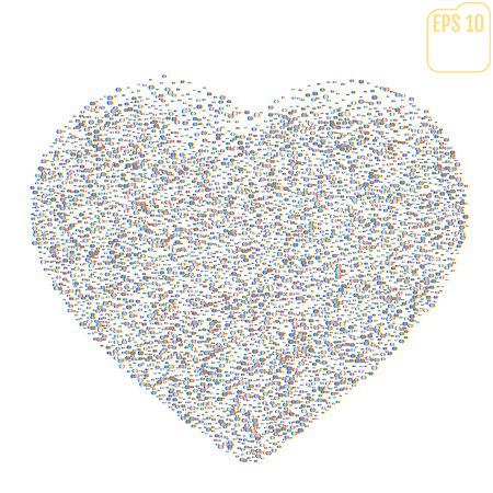 Distorted Glitch Style Modern Background. Glitched silver Confetti Heart Frame Design. Glow Design for Graphic Design - Brochure, Poster, Card, Banner. Vector Illustration.