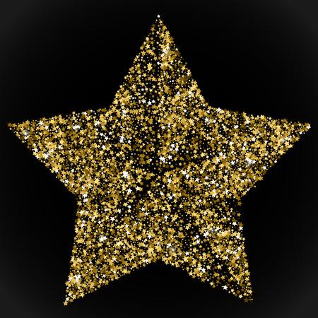 Gold star. Golden stars confetti concept. Vector illustration Illustration