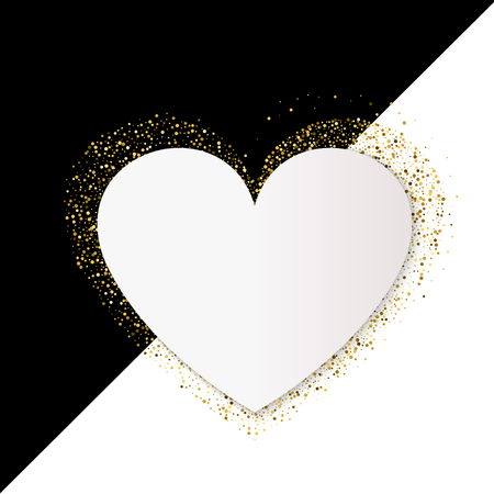 Happy Valentines Day Card with Gold Glittering Star Dust Heart, Golden Sparkles on Black and White Background.