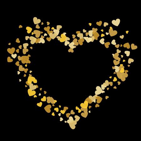 Heart shape vector gold confetti splash with black heart frame inside. Illustration
