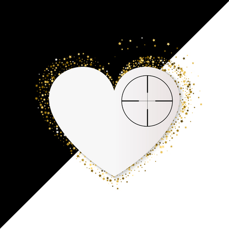 Golden Heart vector banner on white and black background. Gold glitter heart. Heart At Gunpoint Illustration