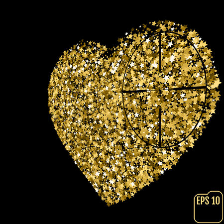 Star glitter gold sequin in heart shape isolated on black background - love and valentine concept. Heart at gunpoint illustration.