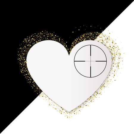 Happy Valentines Day Card with gold glittering star dust heart, golden sparkles on black and white background. Heart at gunpoint illustration. Illustration
