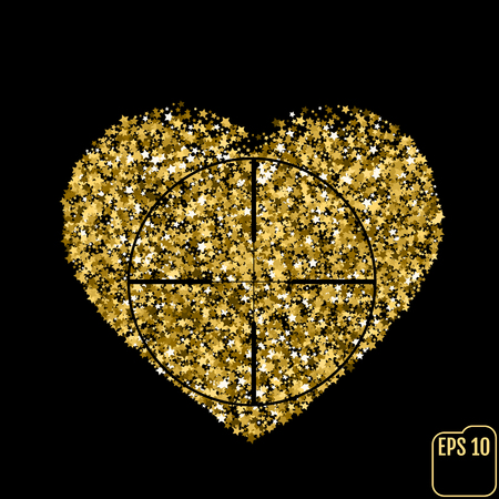 Star glitter gold sequin in heart shape isolated on black background - love and valentine concept, Heart At Gunpoint