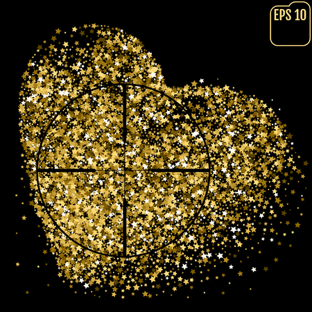 Shimmering Stars Confetti Heart. Greeting Card, Wedding, Invitation Template Background with Free Space. Luxury, Glamour Design Pattern with Gold Stars. Heart At Gunpoint
