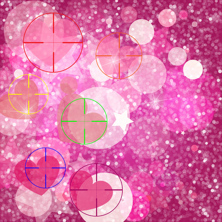 Glitter vintage lights background. Light silver, and pink. Defocused. Hearts and shine. Heart at gunpoint illustration. Illustration