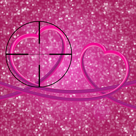 Glitter vintage lights background.Two perfect 3d hearts. light silver, and pink. Defocused. Heart At Gunpoint
