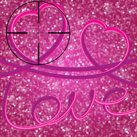 Glitter vintage lights background. Elegant 3d inscription Love and Two perfect 3d hearts, executed by the movement of the heart. Illustration