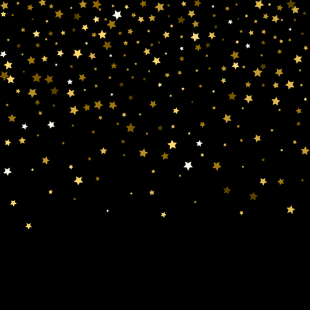 Abstract pattern of random falling gold stars on black background. Glitter pattern for banner, greeting card, Christmas and New Year card, invitation, postcard, paper packaging. Vector
