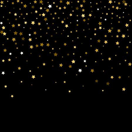 Modèle abstrait d'étoiles d'or tombant au hasard sur fond noir. Motif de paillettes pour bannière, carte de voeux, carte de Noël et du nouvel an, invitation, carte postale, emballage en papier. Vecteur Vecteurs