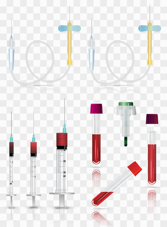 Realistic medical supplies. For blood collection set, for short term, laboratory test-tubes and syringes. Vector illustration on transparent background.