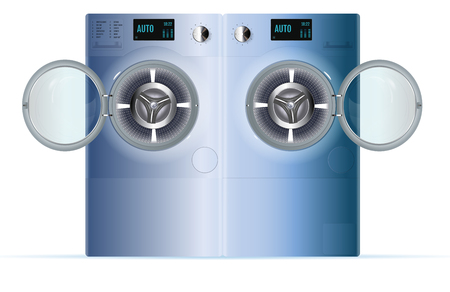 Open Double Washing Machine. Front View of Blue Steel Steam Washer. Isolated washing machine on a white background Illustration