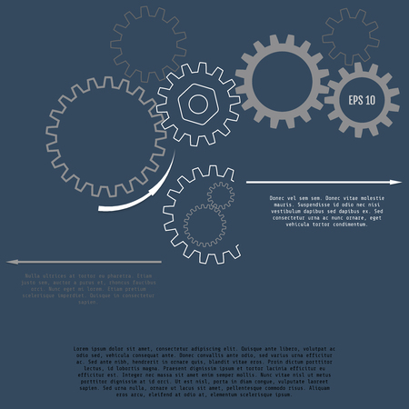 A Vector illustration of gears with on the grey background. Business and industry concept with options, parts, steps, processes. Infographic vector template Illusztráció