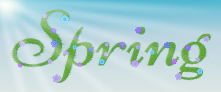 Word is spring, written with green grass and flowers against the background of the spring sky and the rays of the sun. Vector illustration  イラスト・ベクター素材