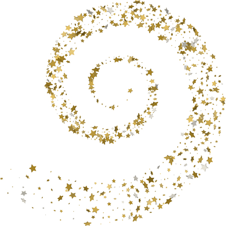 Stream gold stars on a white background. Vector illustration