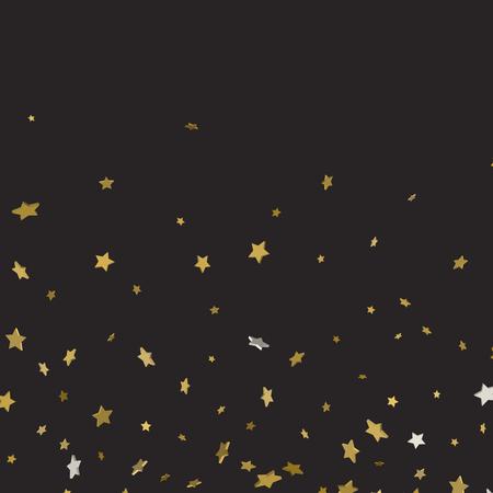 Modèle abstrait d'étoiles d'or tombant au hasard sur fond noir. Motif de paillettes pour bannière, carte de voeux, carte de Noël et du nouvel an, invitation, carte postale, emballage en papier. Illustration vectorielle