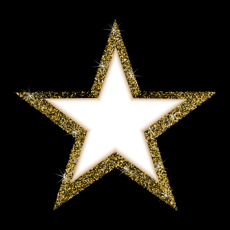 Vector luxury gold star. A beautiful golden star, consisting of many small gold confetti stars. Modern gold star with frame for text
