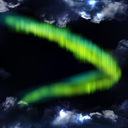 Northern Lights, polar lights, or aurora borealis against the background of the night sky and thunderclouds.